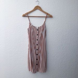 H&M Pink and White vertical striped dress